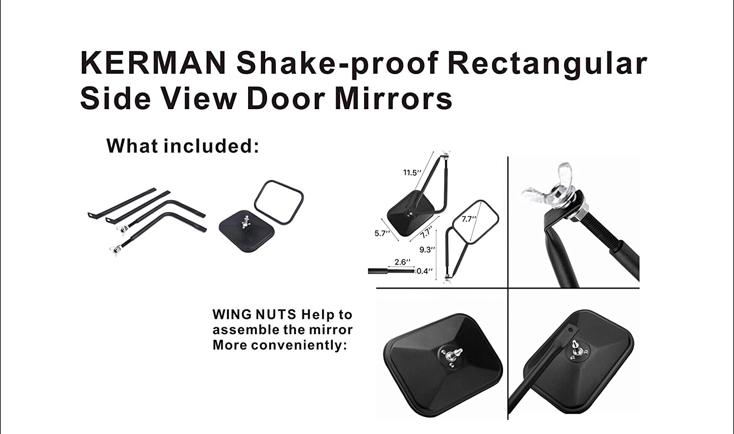 KERMAN Shake-proof Off-Road Rectangular Adventure Mirrors 44 Doorless Mirrors Bolt-on Door Hinge Mirror for Jeep Wrangler TJ JK JKU CJ JL 1 PAIR Textured Black