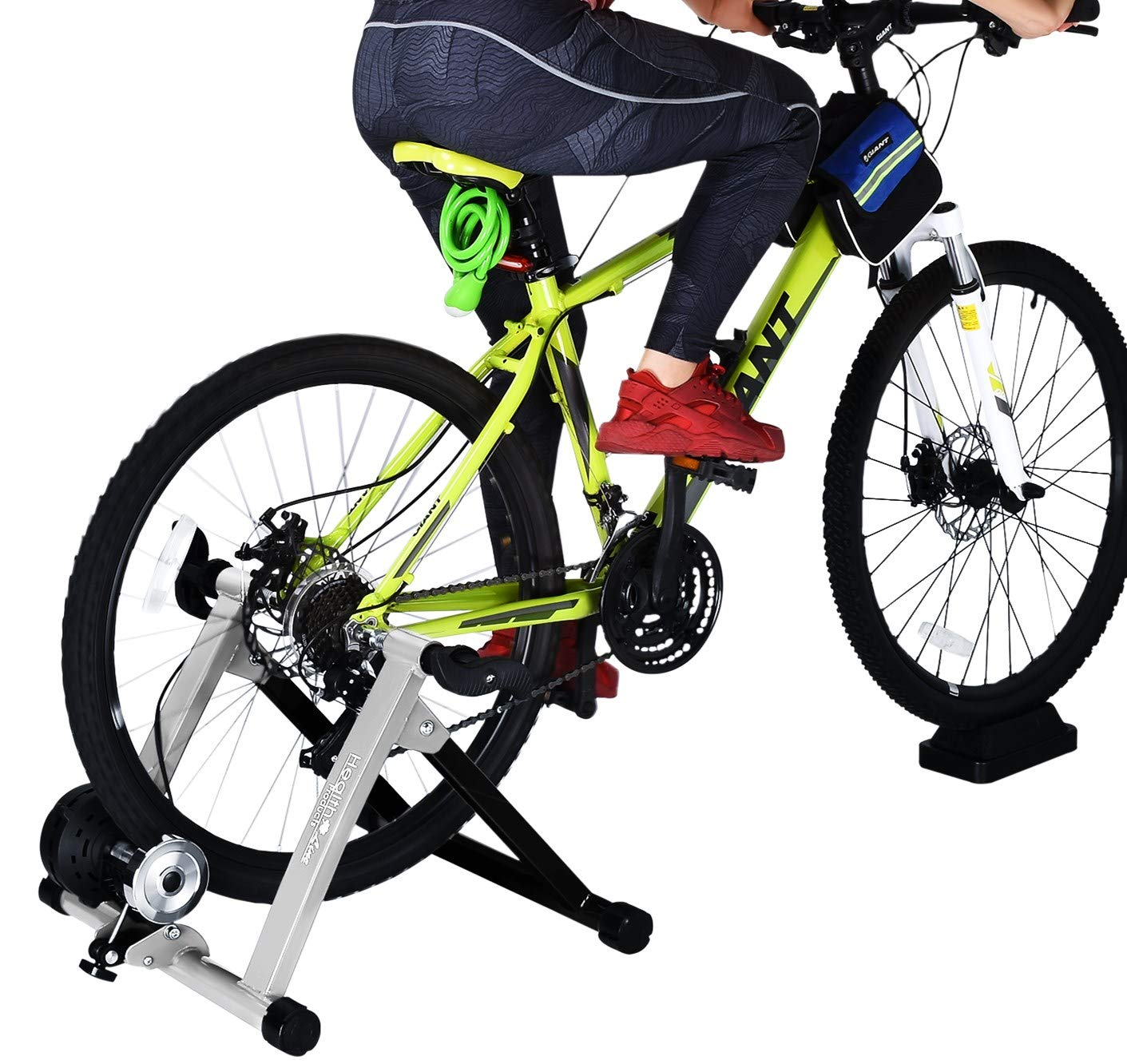 HEALTH LINE PRODUCT Indoor Bike Trainer,Bike Stationary Riding Stand Fits 26-28'' 700c Road/Mountain Bike Adjustable 8 Levels Resistance Bike Riding Stand w Wheel Block & Quick Release