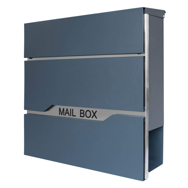 Wandbriefk/ästen B LARS360 Briefkasten Anthrazit Postkasten Mailbox Zeitung Wandbriefkasten Edelstahl Pulverbeschichtet Post Briefkastenanlage Letterbox Mit 2 Schl/üssel Zeitungsrolle Neu Design