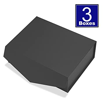 Amazon Com Cohaja Matte Black Gift Box With Lid 3 Pack 12 X 9 X