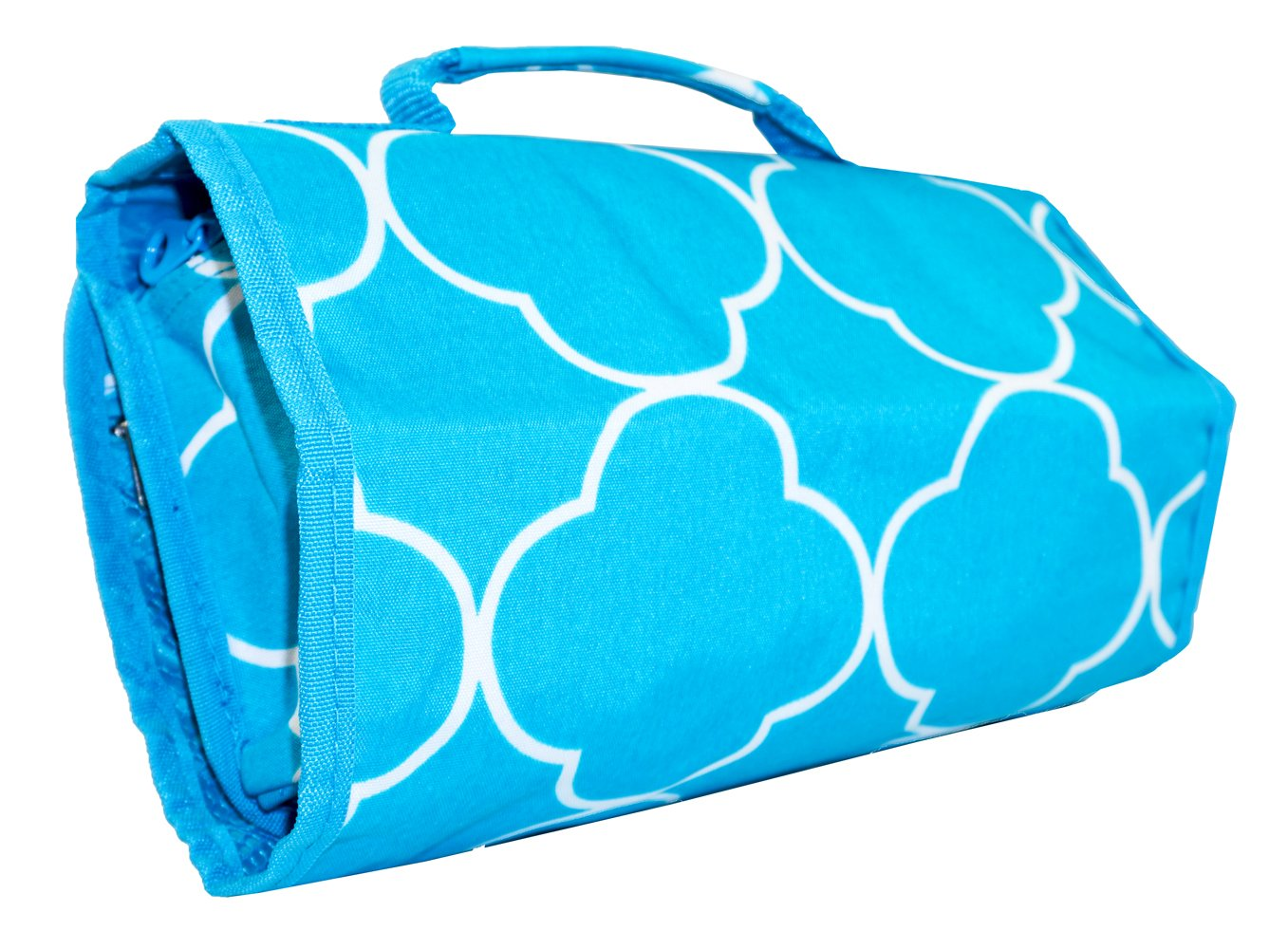 Ever Moda Quatrefoil Hanging Travel Toiletry Bag (Teal Blue)
