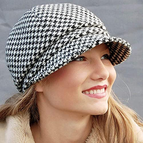 76eb6ee30e0 Image Unavailable. Image not available for. Colour  ZUT hats - Black and  white dogtooth Harris tweed cap ...