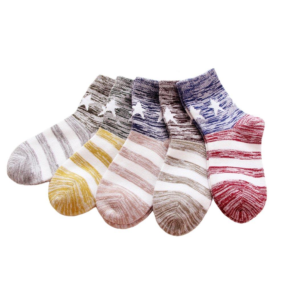 Anbaby Boys Athletic Socks Fashion Cotton Short Crew Socks (Medium/6-8years, Star)