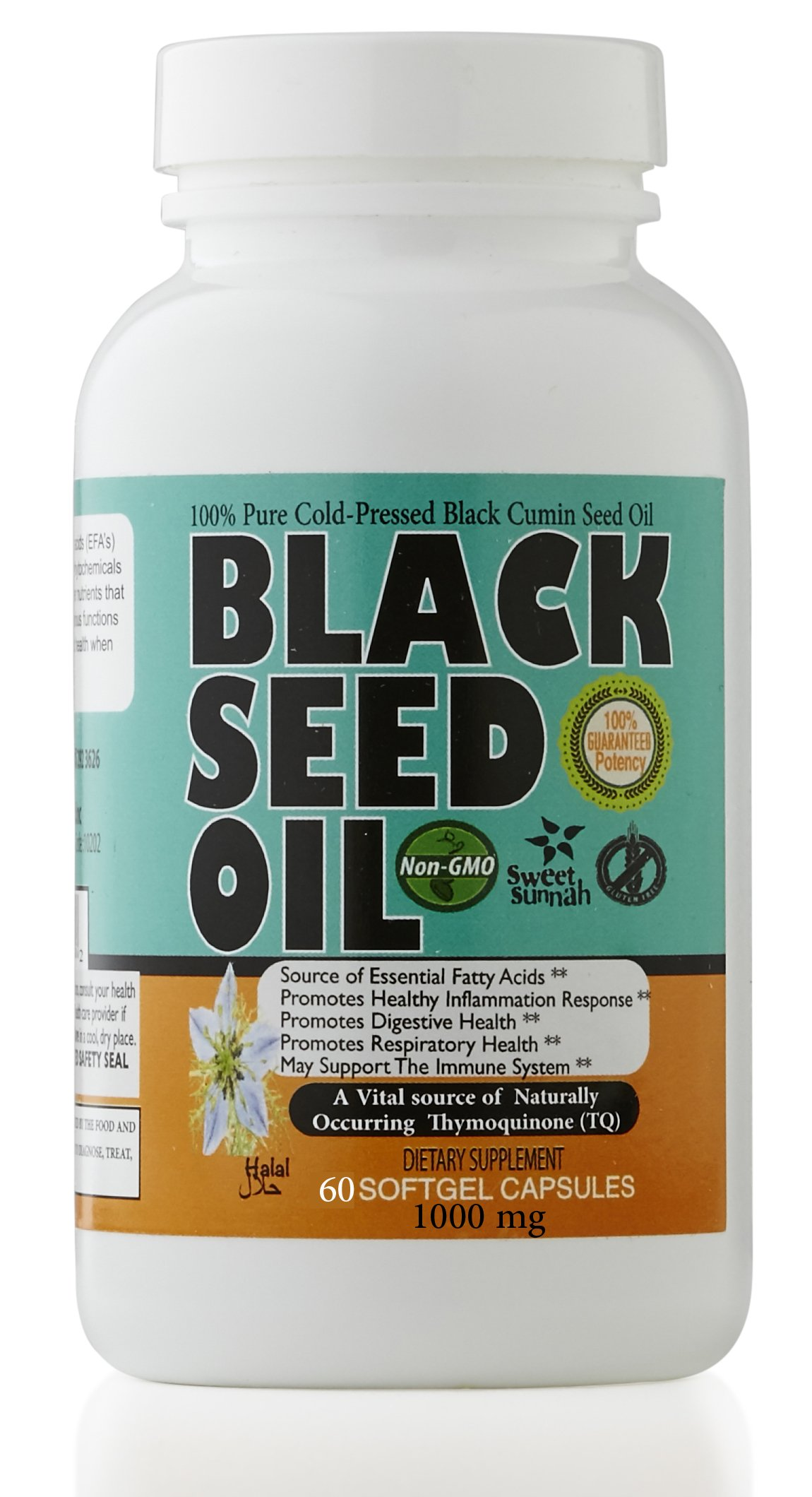 Premium Black Seed Oil Softgel Capsules 60 Capsules (1000mg each) by Sweet Sunnah