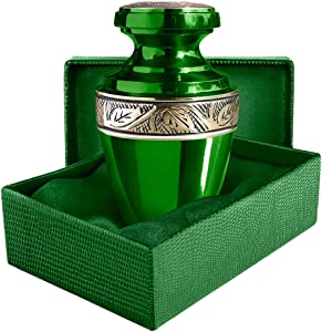 Trupoint Memorials Serenity Green Beautiful Small Mini Keepsake Urn for Human Ashes - Qnty 1 - with Velvet Case