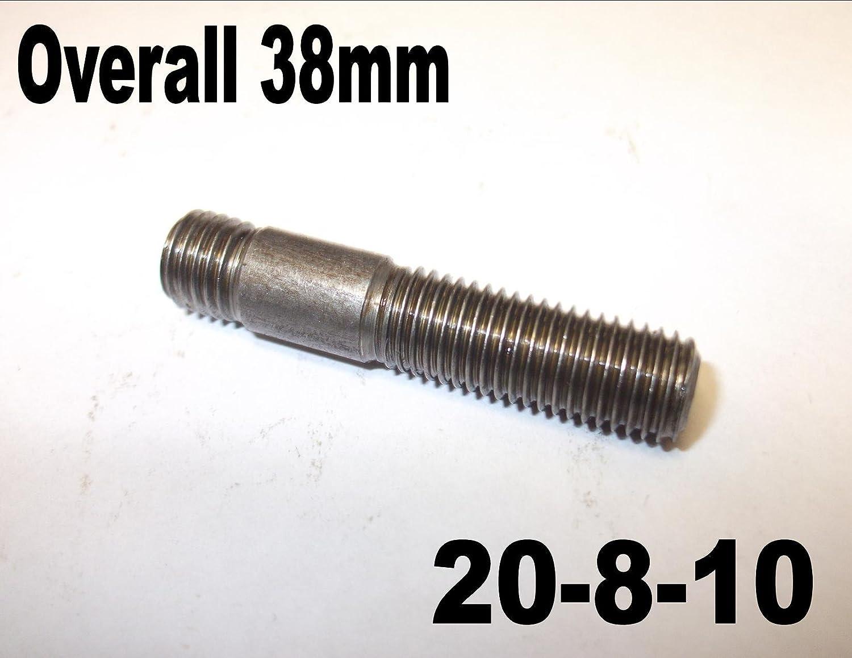 4 x M10 38 mm Auspuff-Kr/ümmerbolzen insgesamt 38 mm 20-8-10
