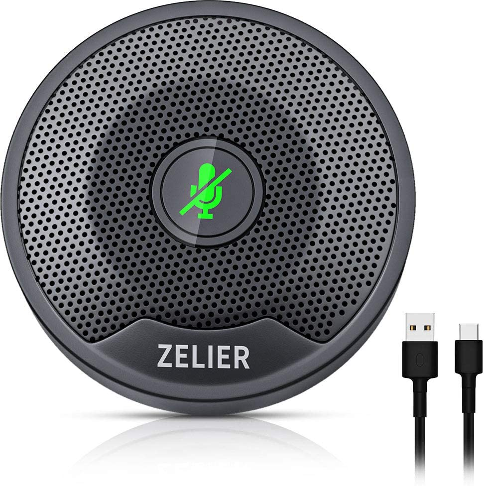 Conference USB Microphone, Plug & Play, Mute Button with Led Indicator Omnidirectional Condenser Computer Microphone for Recording, Video Meeting, Gaming, YouTube, Skype, VoIP Calls (Window/Mac)
