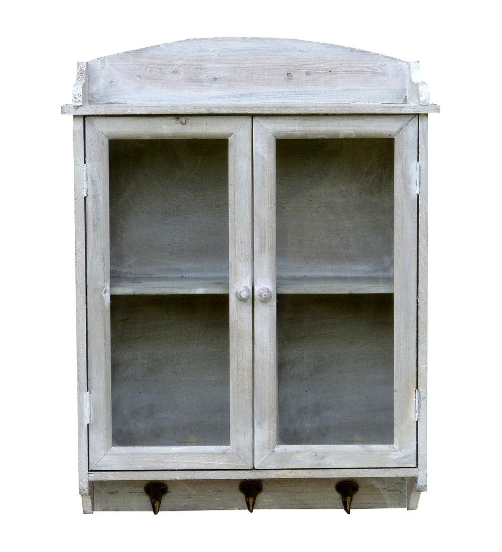 Shabby Chic Hellgrau amadeco Wundervoller Wandschrank Hängeschrank Küchenschrank Wandgarderobe Garderobe mit 3 Haken und Glastür 45 x 60cm