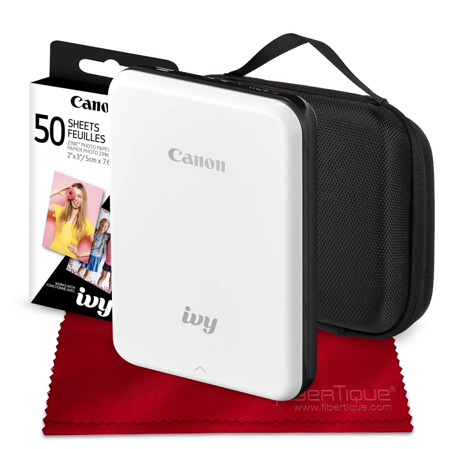 Canon Ivy Bluetooth Mini Mobile Photo Printer (Slate Gray) with Canon 2 x 3 Zink Photo Paper (50 Sheets) and Hard Shell Case Deluxe Bundle by Canon