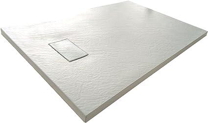 Piatto Doccia H.2,6 cm In Vetro-resina SMC Effetto Pietra Stone Ardesia Piletta Doccia Inclusa 70x90 h 2.6cm, Antracite