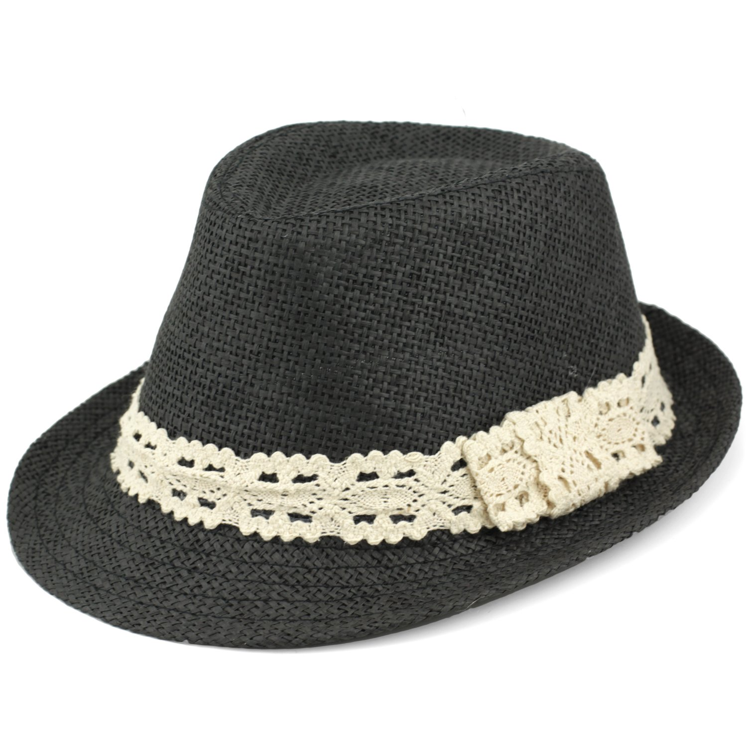Trilby Fedora Hats for Kids - Summer, Beach & Party Hat for Boys & Girls - Short Brim Childrens Sun Hat - Cream Lace Trim Band - Black