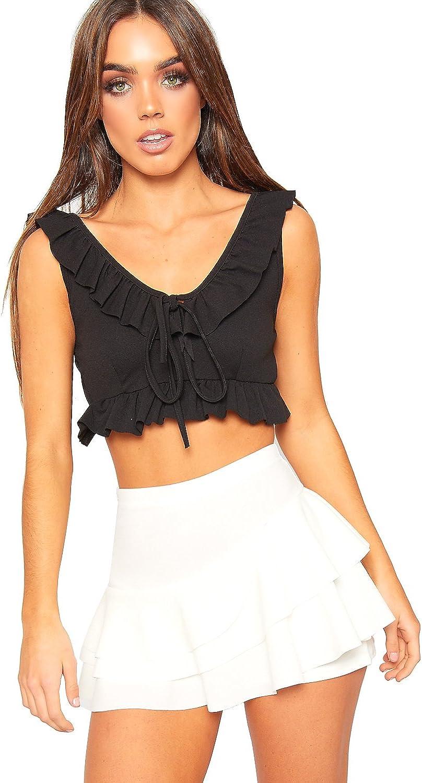 Womens Frill Trim Rara Skirt New Ladies High Waisted Plain Skort Stretch Shorts