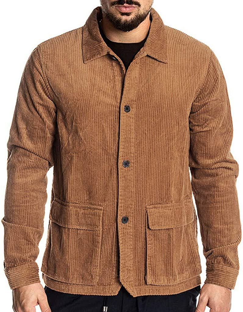 Mens Vintage Shirts – Casual, Dress, T-shirts, Polos Mens Vintage Solid Color Corduroy Shirts Casual Long Sleeve Button Turn-Down Collar Pocket Shirt Tops Blouse $26.98 AT vintagedancer.com