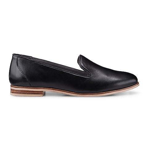 sports shoes f2ded 3f354 Cox Damen Damen Leder-Loafer, Schwarze Leder Slipper mit ...