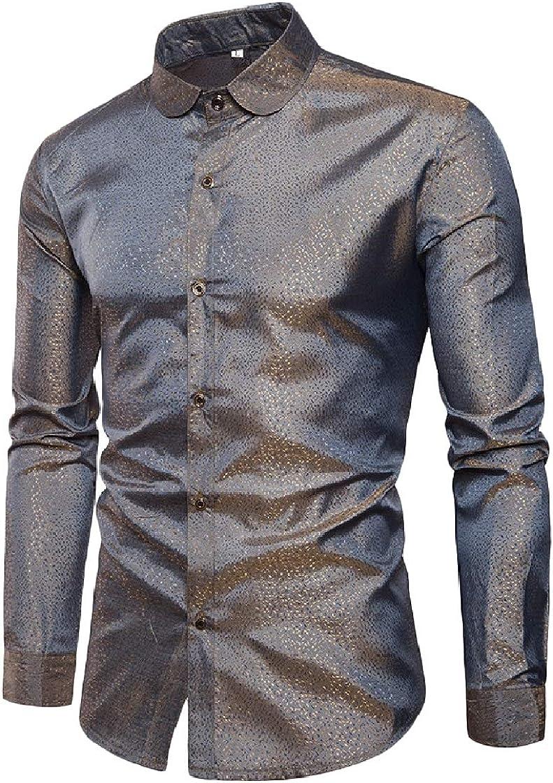 YUNY Men Long-Sleeve Lapel Floral Fashionable Button Curvy Club T-Shirts Shirt Pattern2 2XL