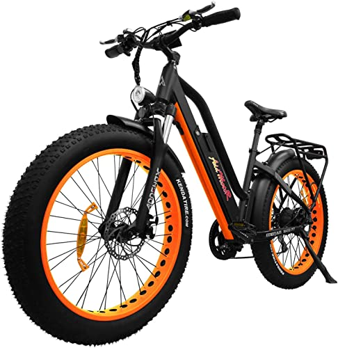 Addmotor MOTAN Electric Bicycles with Pedals, E Bikes Step Thru,26 Inch Fat Tires 750W Motor Bike with 48V 11.6Ah Removable Lithium-Ion Battery Women Men M-450 P7 Orange 7 Days Delivery