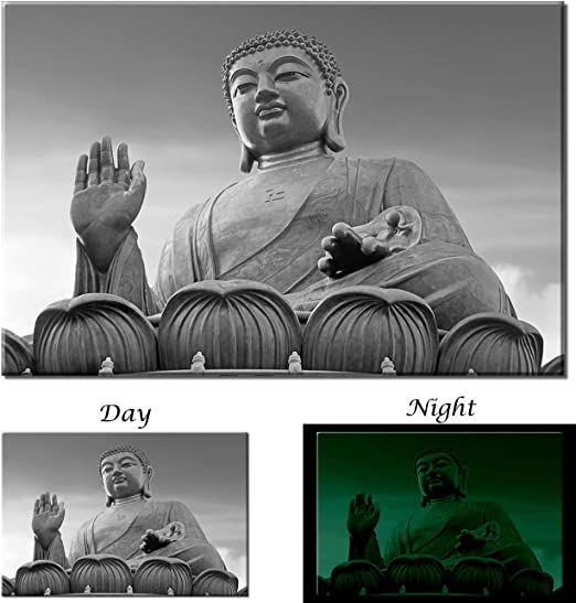 Picture Sensations Glow in The Dark Canvas Wall Art Buddha Spiritual Zen Art