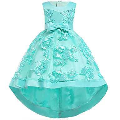 b08aaf6f6f5ee Girls Hi-Low Lace Bridesmaid Wedding Pageant Dresses Summer Floral  Embroidered Dress