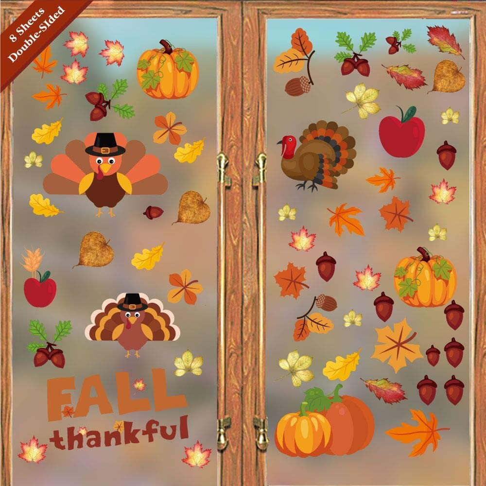PARLAIM Thanksgiving Decorations Window Clings Decor Maple Decals Sticker Autumn Fall Leaves Turkey Pumpkin Decal Stickers, School Home Office Decorations Kids Party Supplies Gifts
