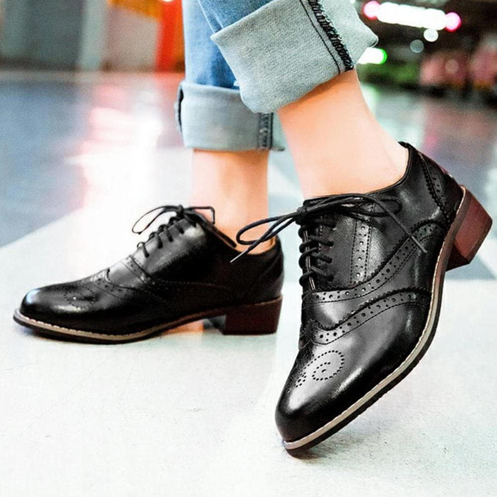 DoraTasia Womens Trendy Leather Perforated Wingtip Lace Up Low Heel Oxfords Vintage Brogues Shoes