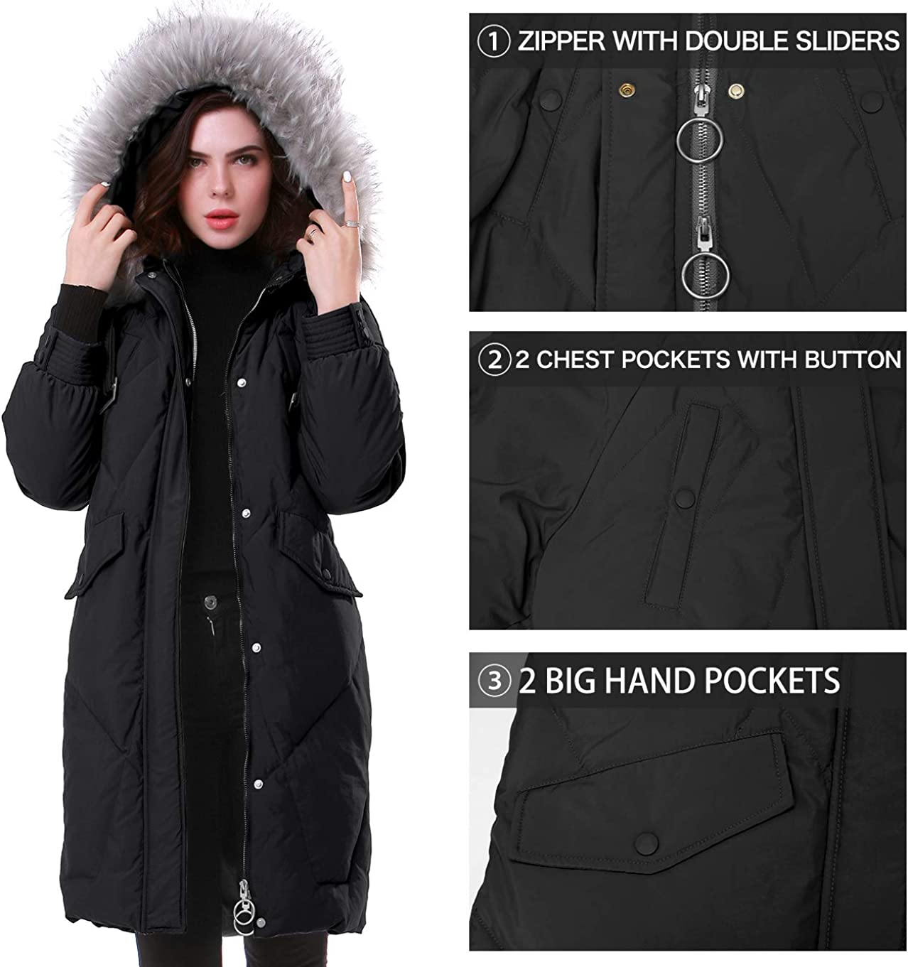 MORCOE Womens Thickened Long Down Puffer Jacket Winter Outdoor Anorak Coat Oversize Outerwear Hooded Down Parka