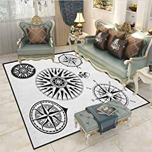 Compass Children Boys Girls Bedroom Rugs A Set of Highly Detailed Five Windroses Angles Directions Navigation in The Sea Desk Chair mat for Carpet Black White 6 x 7 Ft
