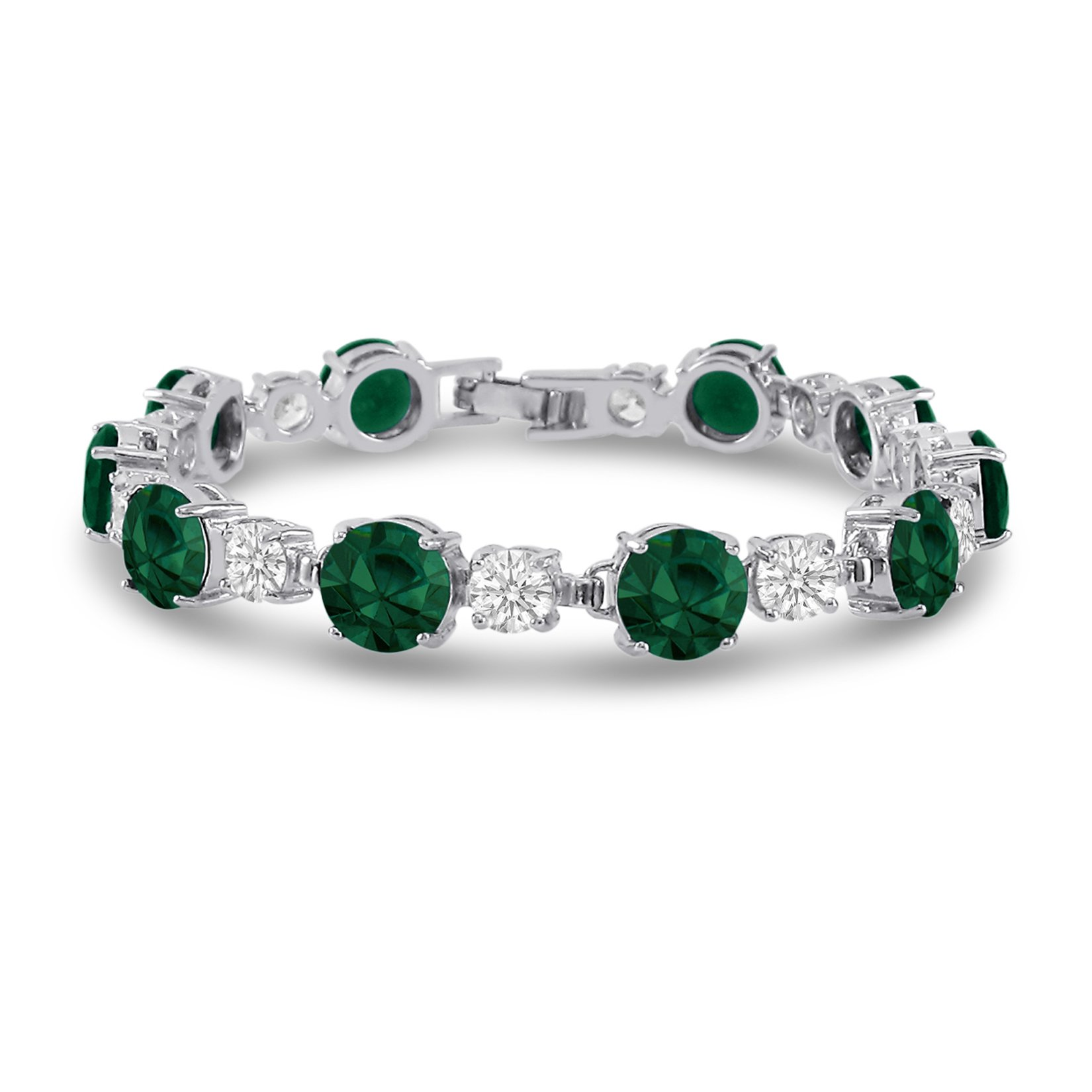Cubic Zirconia Tennis Bracelet Silver Plated Brass Round Cut Simulated Emerald Green 7 inch