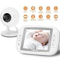 """Babyphone, YISSVIC Bébé Moniteur 3,5"""" LCD Couleur Ecoute Bébé Vidéo Caméra Surveillance Bidirectionnelle 2,4 GHz Vision Nocturne"""