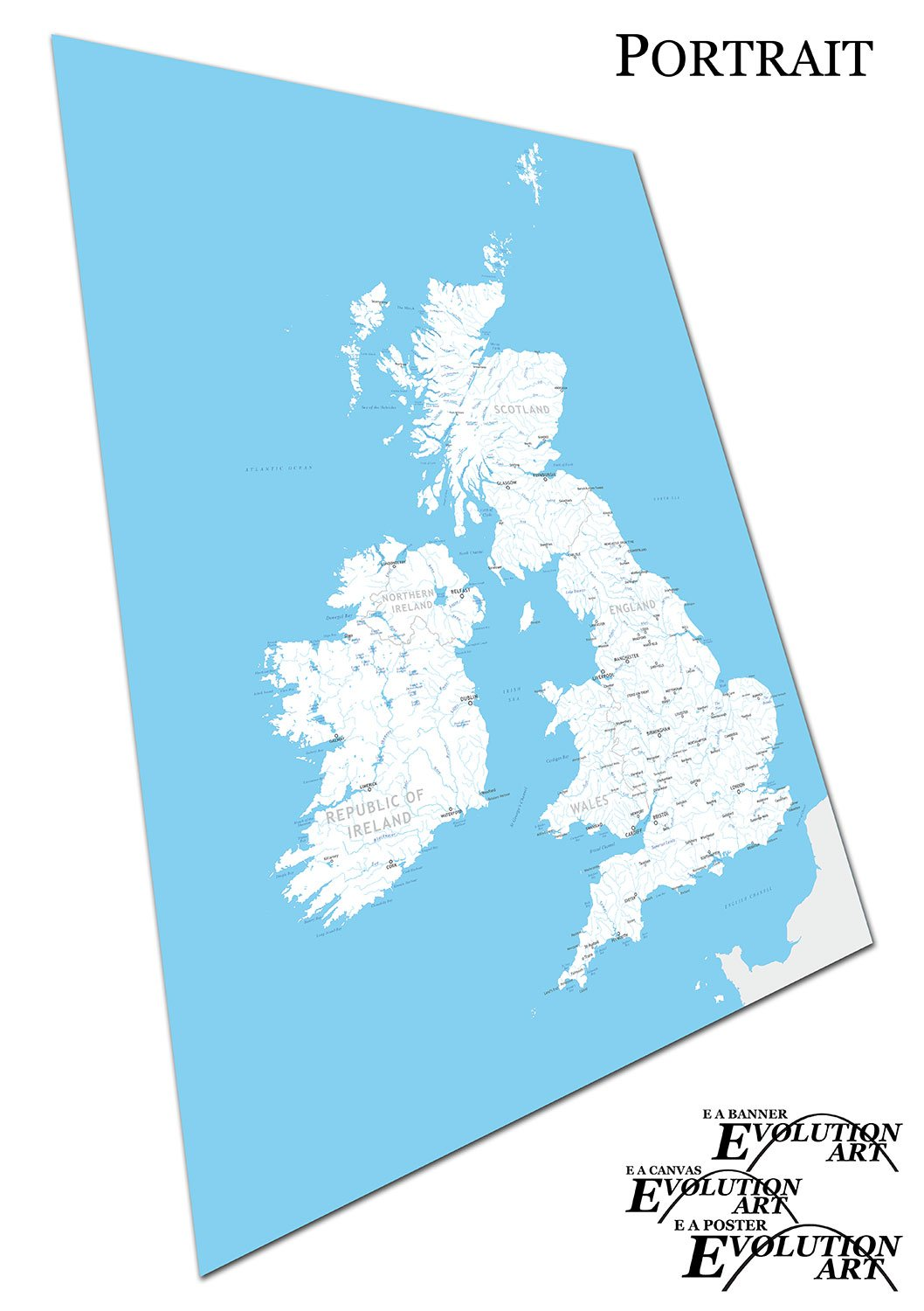 A4 Map Of Ireland.Print On Canvas Uk Map Great Britain Ireland River Names Size A4