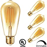 Vintage Edison Dimmable LED Light Bulbs, Newpow 7W (70Watt Equivalent) Antique Amber Gold Filament Light Bulb, Warm Color 2400K, 500 Lumens, ST64 E26 Base, UL Listed (4-Pack)