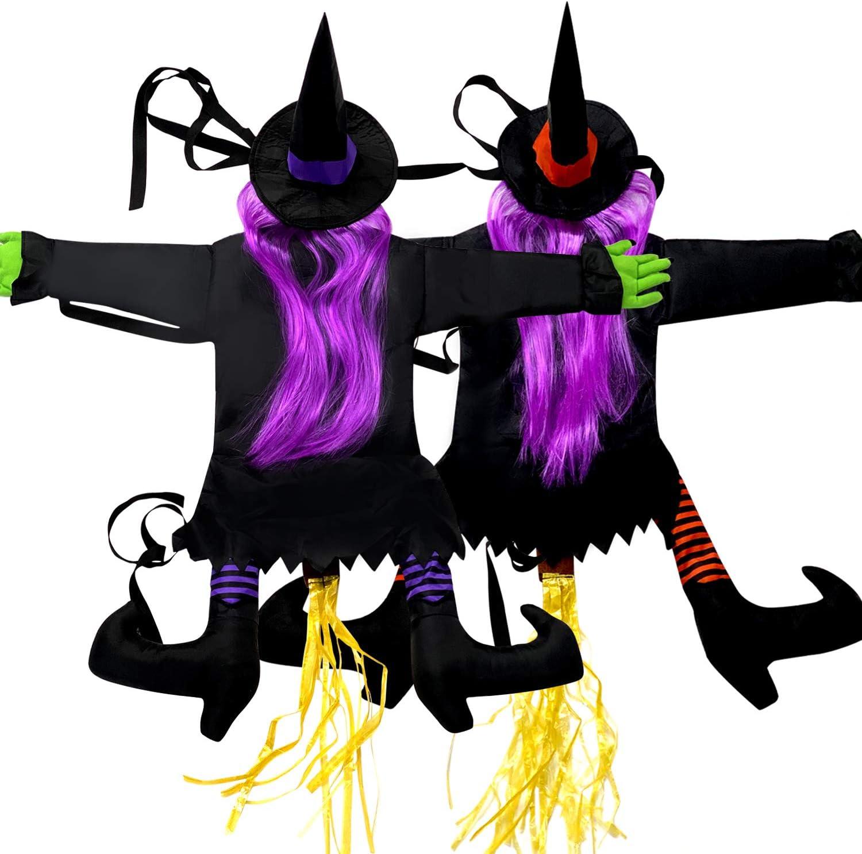Alpurple 2 Packs Crashing Witch into Tree Halloween Decoration -Halloween Crashed Witch Decorations,Crashed Witch Props Ideal for Halloween Garden Tree Door Porch Decor
