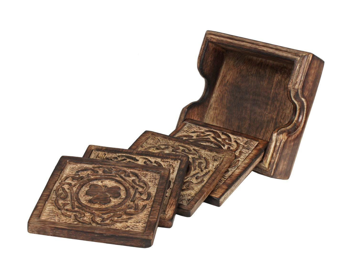 storeindya Set of 4 Wood Coasters-Rustic Finish-Absorbent Eco-Friendly Protects Furniture from Water Stains and Damages Decorations Gifts (Design 4) Icrafts COMINHKPR96149