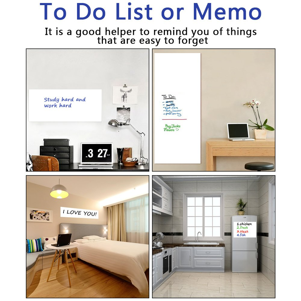 Whiteboard Sticker 17.5 by 118 inches Ninonly for School Office Home Self-Adhesive Dry Erase Wall Decal Wall Sticker Wall Paper for Kids Education & DIY Works Free 1 Water Pen (White) by Ninonly (Image #3)