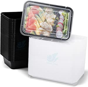 Azure Zone, 50-Pack Rectangular Meal Prep Food Container with Lid - One Compartment - Stackable - Freezer/Microwave/Dishwasher Safe - Reusable Storage - Portable - BPA Free (32 oz)