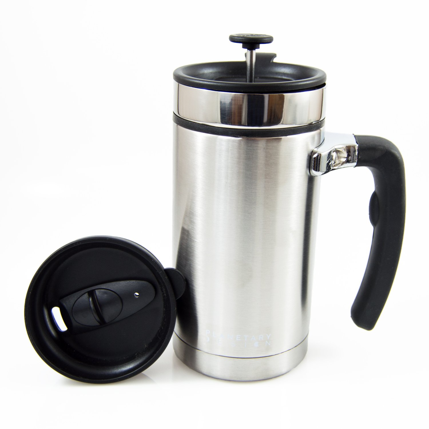 Planetary Design Desk Press Coffee Travel Mug - French Press with Bru-Stop Technology - 2 Spill Proof Lids - 20oz - Brushed Steel,Stainless Steel
