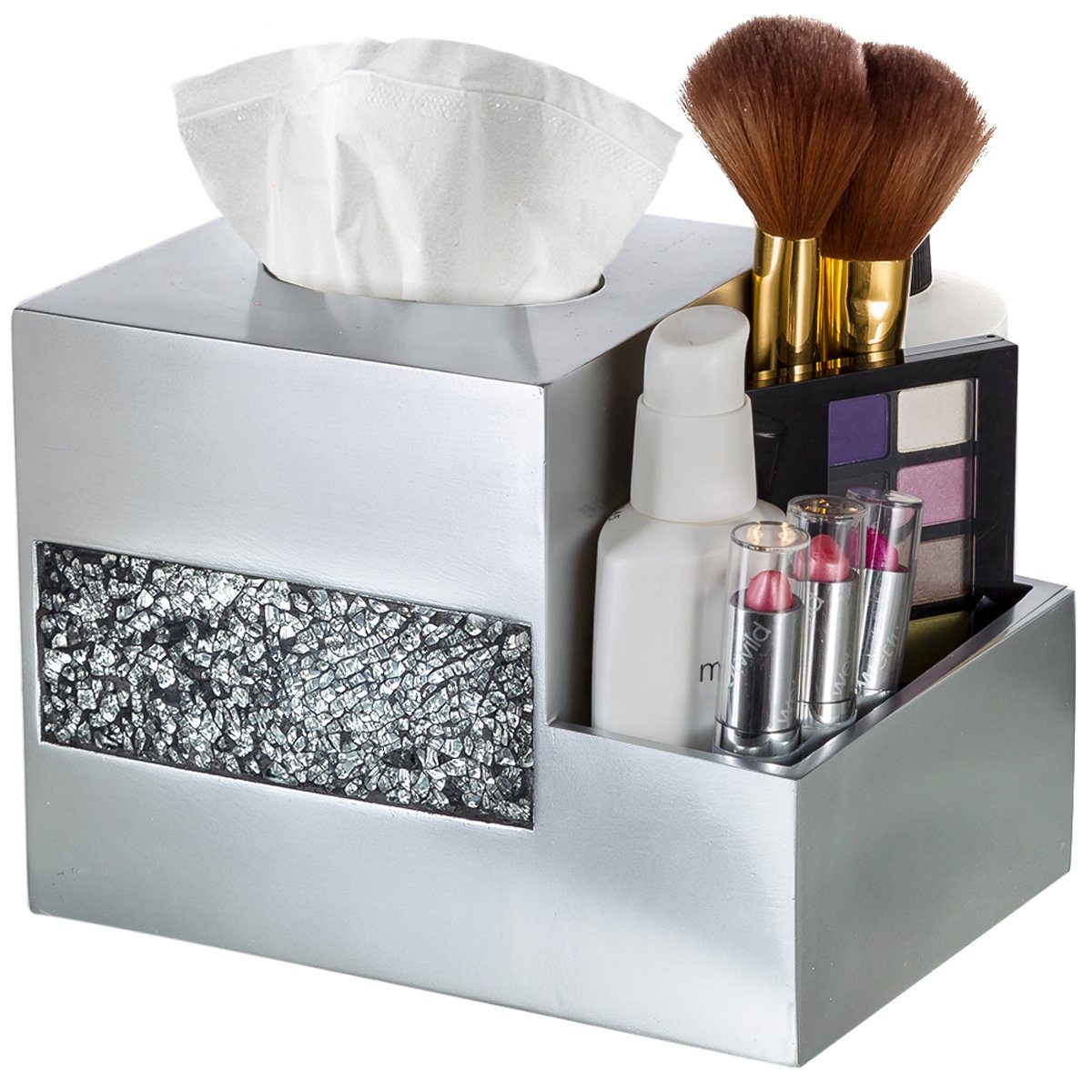 Tissue Box Cover - Wipe Holder - Multi-Function Organizer for Makeup Cosmetics Pen Pencil Remote Control Phone iPad, for Living Room Bathroom Kitchen Office Desktop Table,(Silver) by Creative Scents