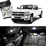 Partsam 2007-2013 Chevrolet Silverado White Interior LED Light Package Kit + License Plate Lights (12 Pieces)