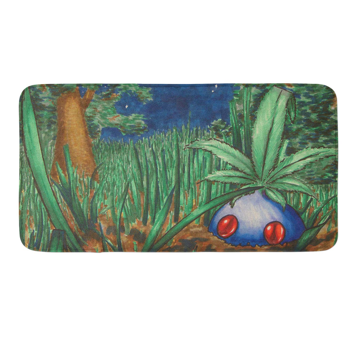 CIGOCI Non-Slip Memory Foam Bathroom Mat - 18x36 Inch, Extra Absorbent,Soft,Duarable and Quick-Dry Shaggy Mat, 3D PrintDrawn Weed Pokemon