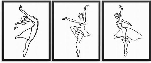 Amazon Com Ballerina Wall Art Print Poster Set Ballet Dancer Silhouette Unframed Modern Black White Abstract Artwork For Living Room Girls Women S Bedroom Office Or Dance Studio 8 X10 Ballerina Set