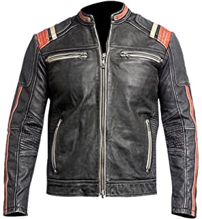919380736 Spazeup Cafe Racer Jacket Vintage Motorcycle Retro Moto Distressed Leather  Jacket
