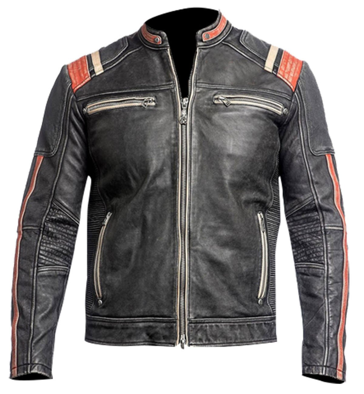 Retro Black Motorcycle Cafe Racer Leather Biker Jacket by Spazeup