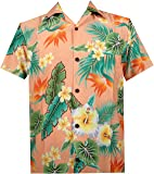 Alvish Hawaiian Shirt Mens Flower Leaf Beach Aloha Party Casual Holiday Short Sleeve