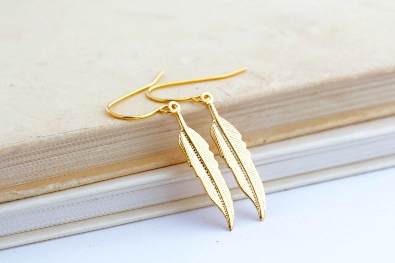 Gold Feather Metal Dangle Earrings