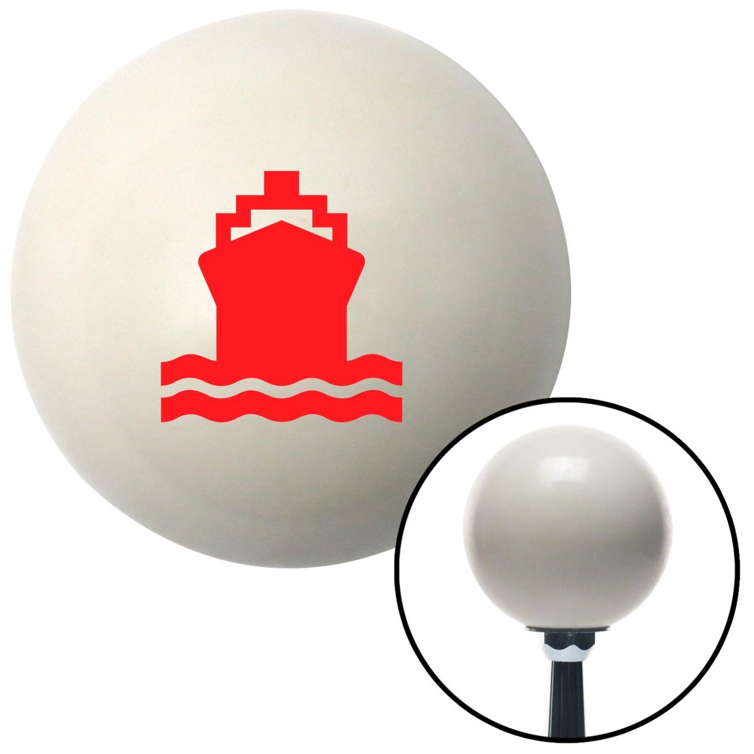 American Shifter 34792 Ivory Shift Knob with 16mm x 1.5 Insert Red Cruiseship