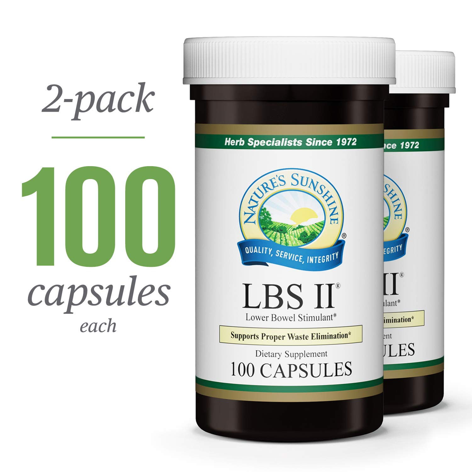Nature's Sunshine LBS II, 100 Capsules, 2 Pack, Kosher | Herbal Laxative with Cascara Sagrada Bark Supports The Digestive System and Lower Bowel Health by Nature's Sunshine