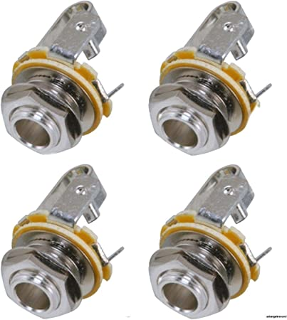 2 PACK Neutrik Mono Connector 6.35mm Female Metal Silver Pannel Chassis