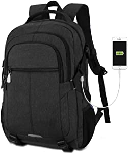 Tocode Water Resistant Laptop Backpack with USB Charging Port Fits up to 17-Inch Laptop (Dark Black)