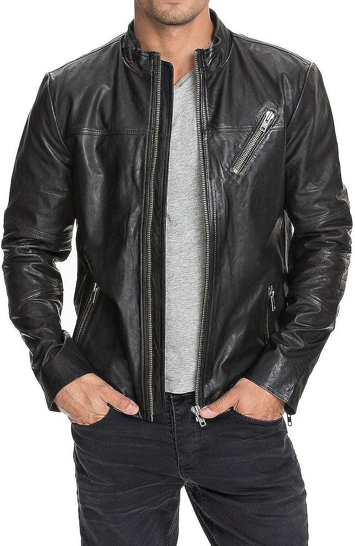 Kingdom Leather New Mens Leather Jacket Slim Fit Biker Motorcycle Genuine Leather Coat X492
