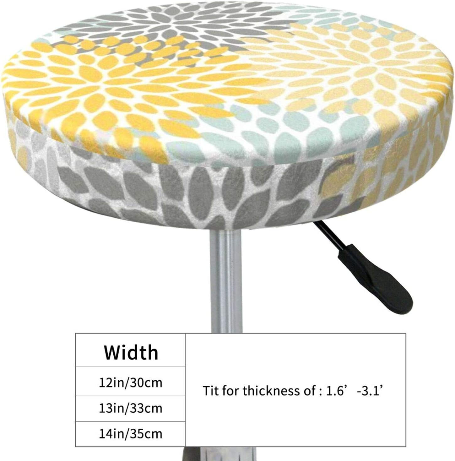 Yulian-ltd Washable Breathable Round Stool Cover,Floral Pattern Yellow Pale Aqua Blue and Gray Round Barstool Seat Covers Elastic Stool Cushion Slipcover 13 Inch