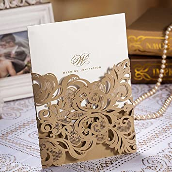 Wishmade 50x Luxury Champange Gold Laser Cut Wedding Invitations Cards Kits  With Lace Sleeve Hollow Favors